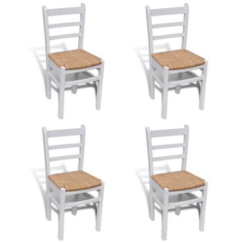 4 pcs White Paint Wooden Dinning Chair