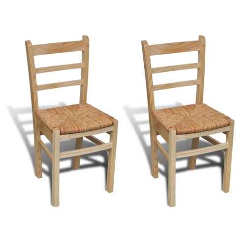 2 pcs Natural Varnish Wooden Dinning Chair