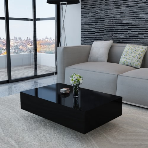 Noir brillant table basse 85 cm