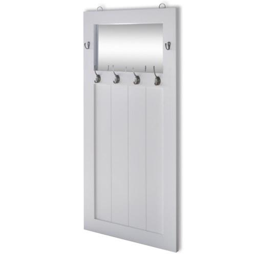 Шкаф крючок для одежды с зеркалом белый