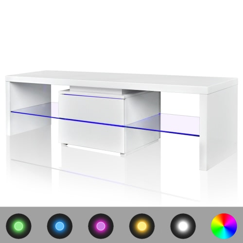 mesa de TV con LEDs de color blanco brillante de 150 cm