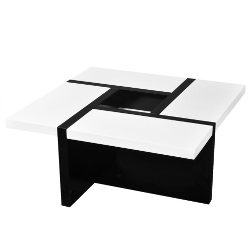 Table basse blanc brillant / noir