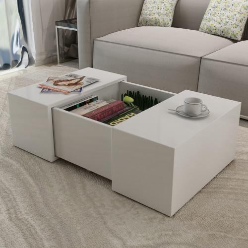 Журнальный столик высокий глянец белый
