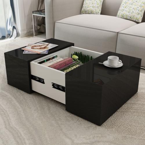 Table basse à haute brillance noire
