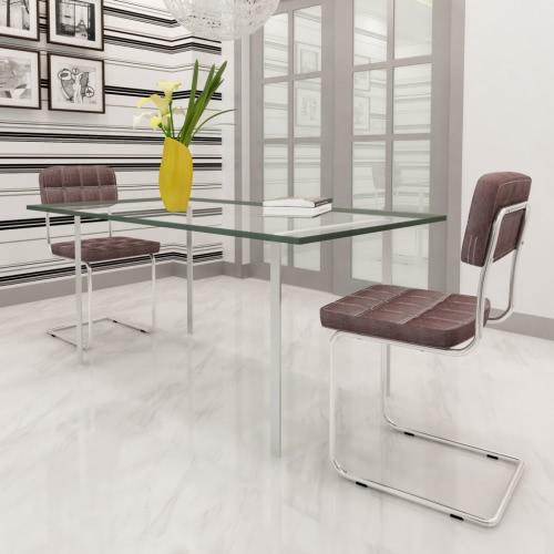 sillas de cuero sintético de color marrón Silla de comedor con botones de 2 piezas