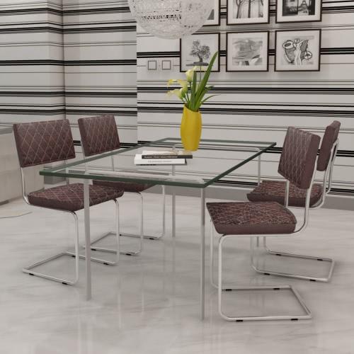 Tabla silla de cuero artificial de Brown 4 PC