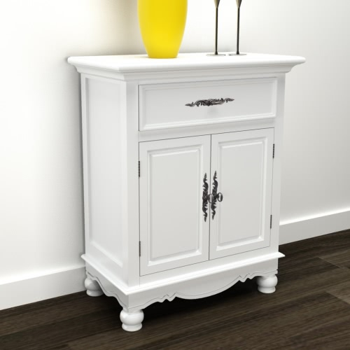 White Wooden Cabinet 2 Doors 1 Drawer