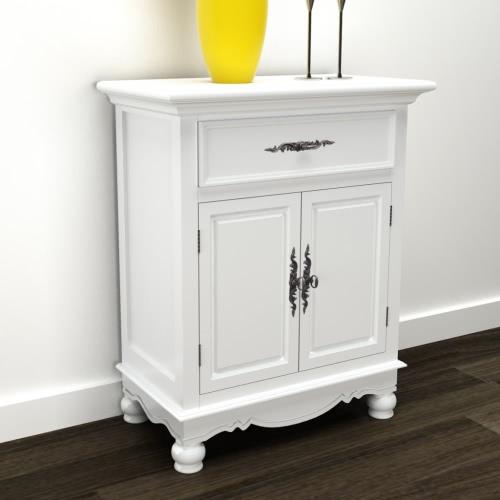 armoire en bois blanc 2 portes 1 tiroir