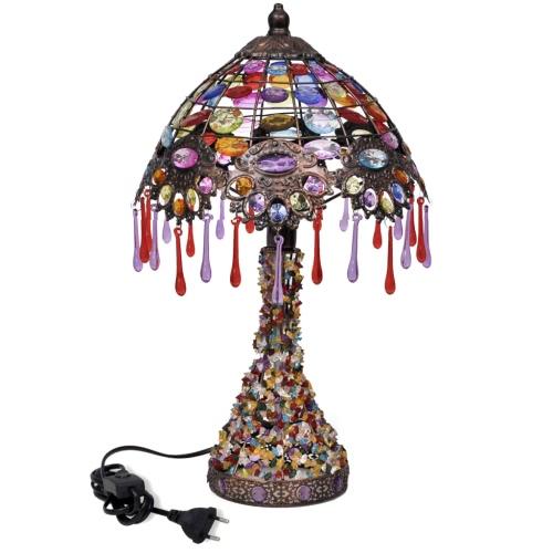 Tischlampe mit bunten Kristallperlen