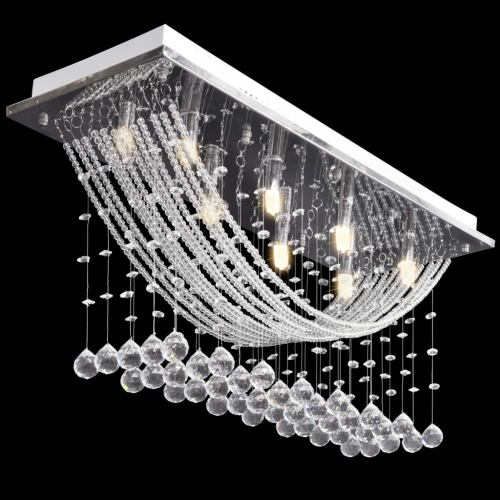 White Ceiling Lamp with Glittering Glass Crystal Beads 8 x G9 29 cm