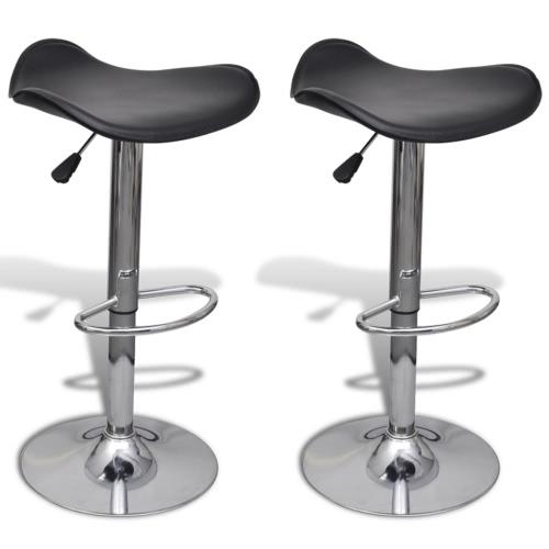 Taburete Taburete ajustable en altura y giratorio con asiento curvado Negro (2 piezas)