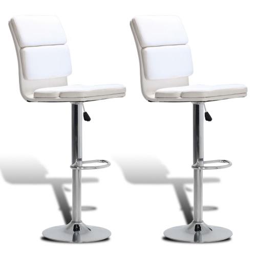 taburete taburete de altura ajustable y se puede girar con respaldo alto blanco (2 piezas)