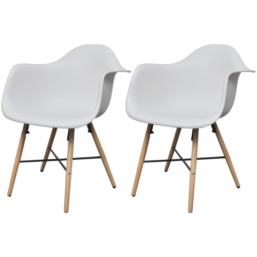 2 pcs White Dining Chair with Armrests and Beech Wood Legs