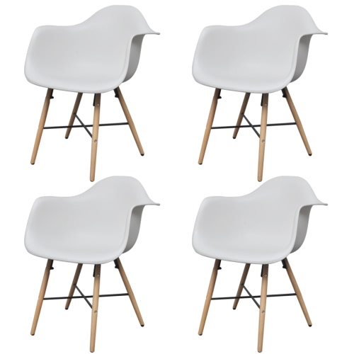 4 pcs White Dining Chair with Armrests and Beech Wood Legs