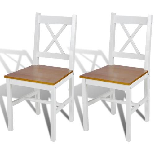 Silla de madera Silla de comedor en color blanco y natural de 2 piezas