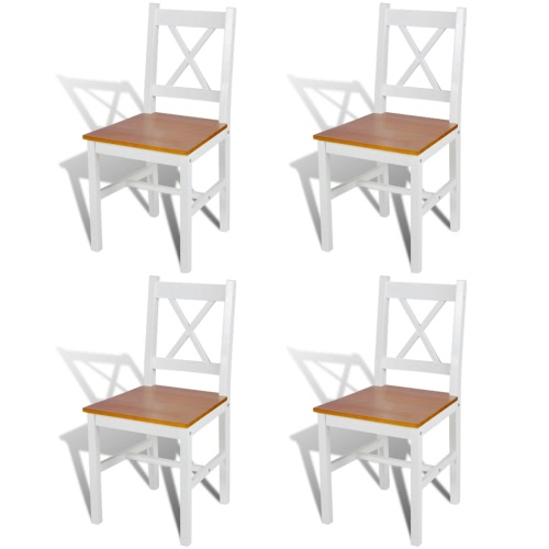4 pcs White and Natural Colour Wood Dinning Chair