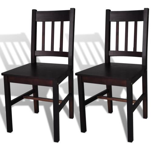 Bois Chaise de salle Chaise Dark Brown (2 pièces)