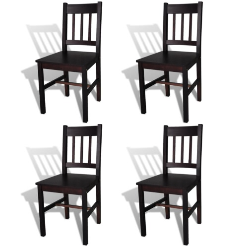 4 pcs Brown Wood Dining Chair