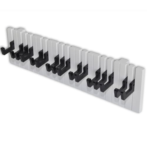 Piano Keyboard Design Wall-mounted Coat Rack with 16 Black Hooks
