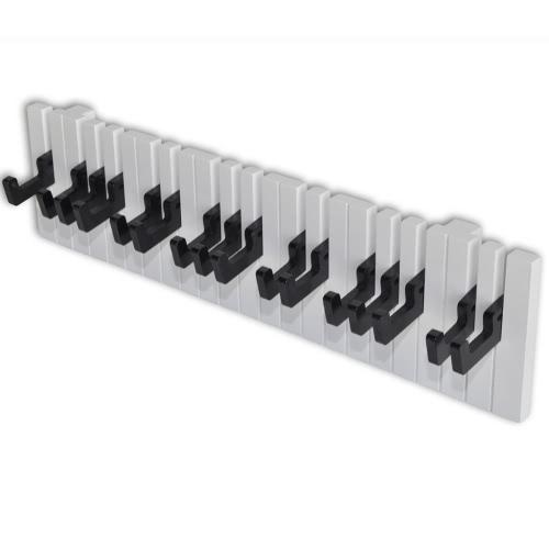 perchero de pared escudo montado en rack Diseño Piano con 16 gancho negro