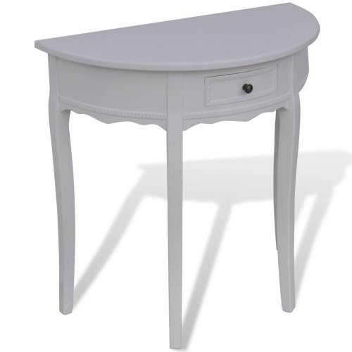 White Half-round Console Table with Drawer