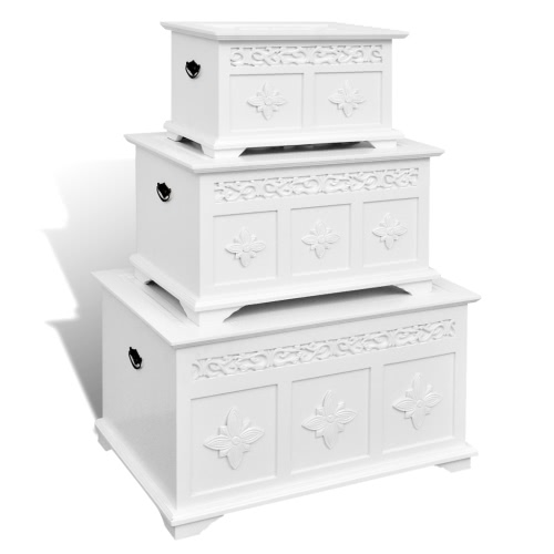 Commodes Ensemble de 3 peint en blanc