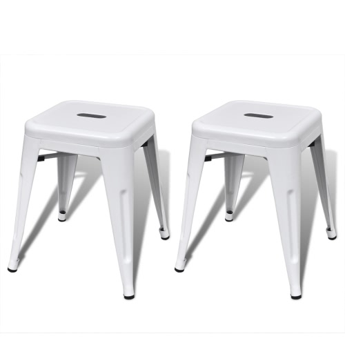 2 pcs White Stackable Small Metal Stool