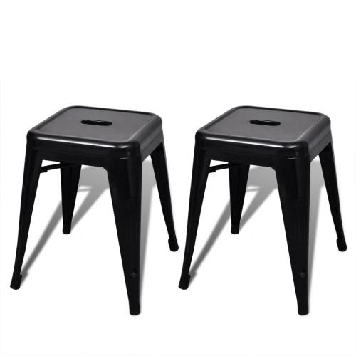 Малый наращиваемых стул штабелирования стул 2 шт черный