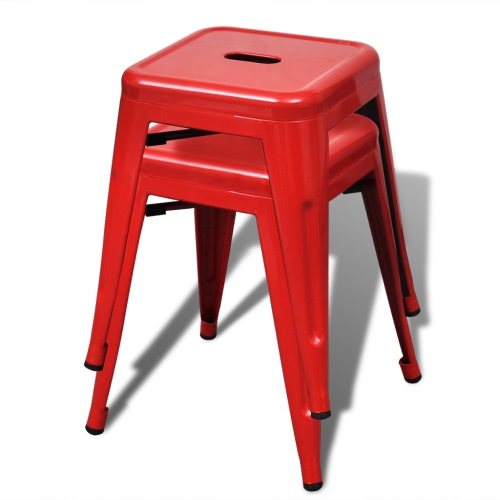 Petit tabouret chaise empilable empilable 2 pcs rouge