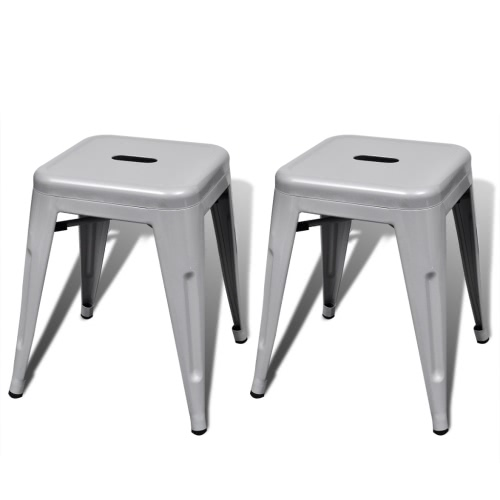 2 pcs Grey Stackable Small Metal Stool