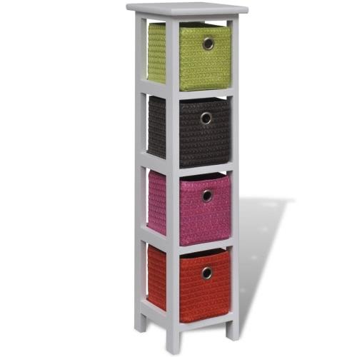 étagère en bois avec des paniers multicolores