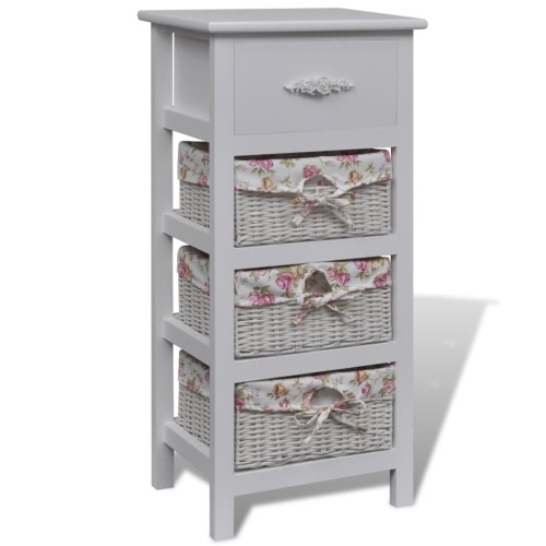 Белый деревянный шкаф с 1 ящиком и 3 корзины