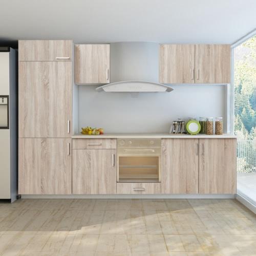 Coin cuisine en chêne regarder avec armoire pour réfrigérateur encastré 7 pièces