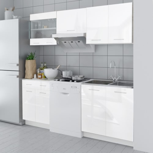 5 pcs High Gloss White Kitchen Cabinet Unit 200 cm