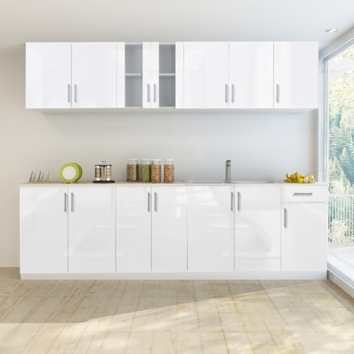 Кухня в белом глянцевое покрытие с раковиной 260 см (8 частей)