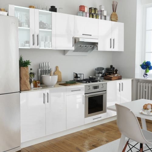 8 pcs High Gloss White Kitchen Cabinet Unit 260 cm