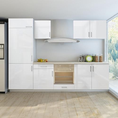 Kitchenette en blanc finition brillante mi armoires de cuisine pour réfrigérateur encastré 270 cm (7 parties)