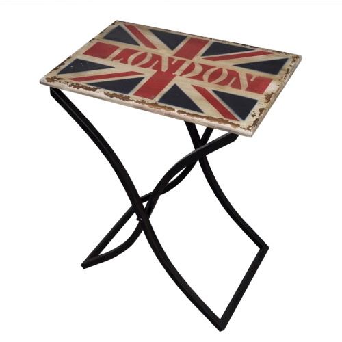 Деревянный кофе / боковой стол Потертый Chic в Юнион Джек дизайн