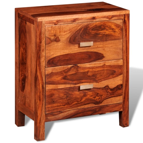 Sheesham Solid Wood Bedside Cabinet with 2 Drawers