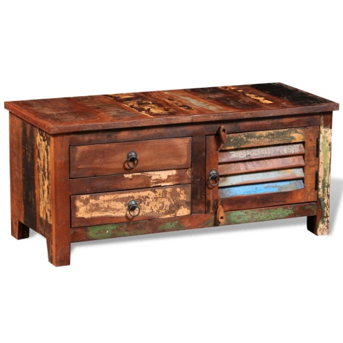 Reclaimed Solid Wood Side Cabinet with 1 Door 2 Drawers