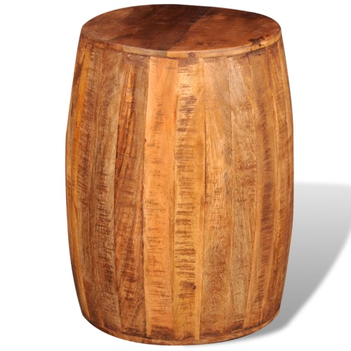 Rough Mango Wood Drum Stool