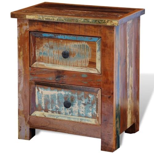 Table de nuit avec 2 tiroirs en bois recyclé
