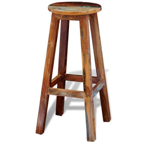 Stołek barowy z drewna z recyklingu