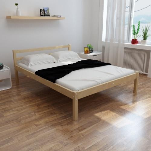 cama de madera maciza de pino natural de 200 x 140 cm