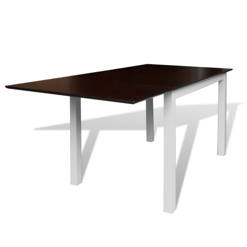 Solid Wood Brown White Extending Dining Table 150 cm