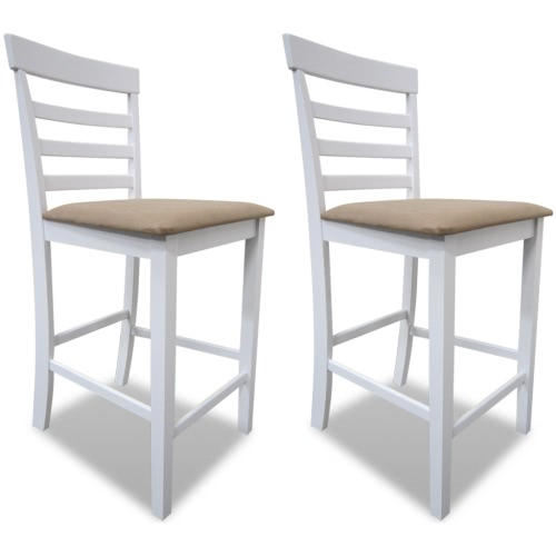 White Beige Wooden bar stools Set of 2