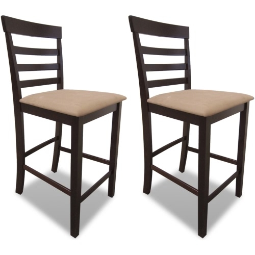 Brown-Beige tabourets de bar en bois Ensemble de 2