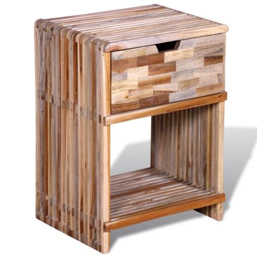 mesita de noche con cajón de madera de teca reutilizada