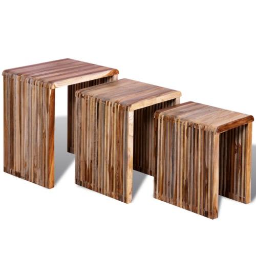 Mesas nido reutilizada Conjunto de teca de 3
