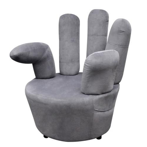 poltrona sedia in mano di velluto grigio forma